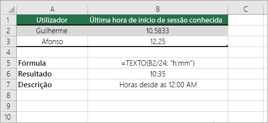Exemplo: converter horas de um número decimal para um formato de hora padrão