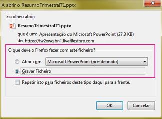 O que deve fazer o Firefox com este ficheiro?