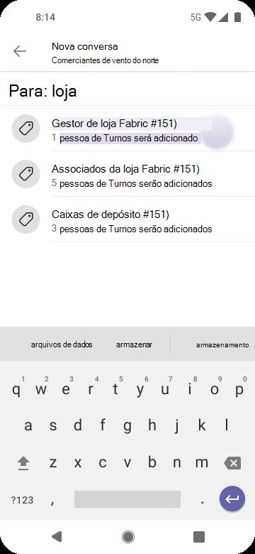 Use tags para chegar a pessoas em equipas usando Android