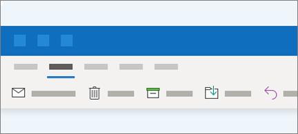 O friso do Outlook tem agora menos botões