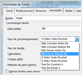 Caixa de diálogo Informação de Tarefa, menu Tipo de constrangimento