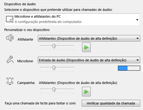 Captura de ecrã da caixa de seleção do dispositivo Áudio onde pode definir a qualidade do áudio