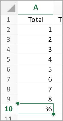 Total de AutoSum