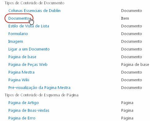 Tipos de Conteúdo de Documento com tipo realçado