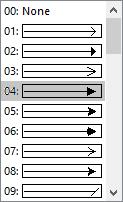 Selecione um estilo de seta ou Nenhum no menu de estilo de seta.