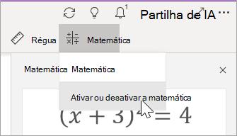 Ativar ou desativar a matemática