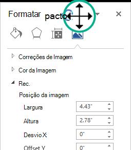 Painel Formatar imagem num Estado fixa: uma janela flutuante
