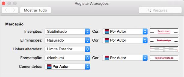 Caixa de diálogo Registar Alterações
