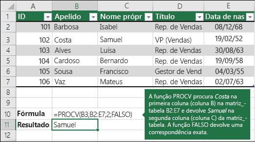Exemplo 1 da função PROCV