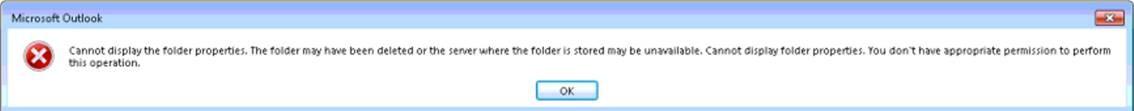Erro do Outlook sobre a impossibilidade de apresentar uma pasta