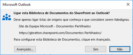Ligar a uma Biblioteca de Documentos do SharePoint