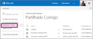 Captura de Ecrã dos documentos partilhados consigo listados na vista Partilhado Comigo no OneDrive para Empresas.