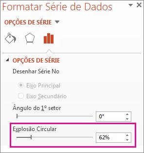 Segmentação de Dados Explosão Circular no painel Formatar Série de Dados