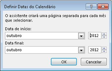 Defina um novo mês na caixa de diálogo Definir Data do Calendário.