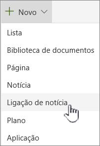 Selecione a ligação de notícias a partir do menu + novo
