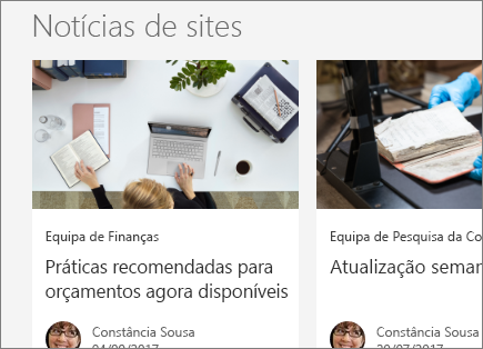SharePoint do Office 365 - Notícias de sites
