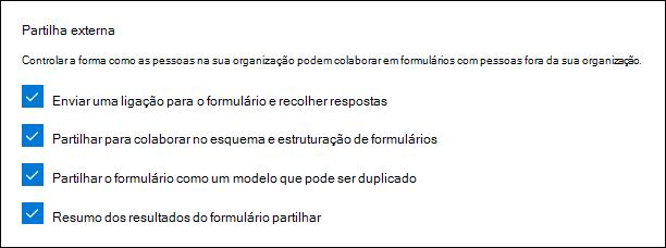 Microsoft Forms administração para partilha externa