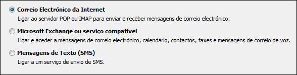 Seleção de serviço de nova conta do Outlook 2010