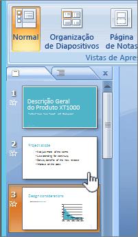 Galeria de miniatura à esquerda com o diapositivo selecionado