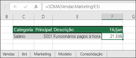Referência da fórmula para folhas de cálculo 3D do Excel