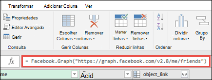 Editor do Power Query com fórmula do Facebook