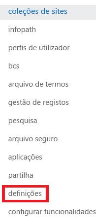 Captura de ecrã do painel de tarefas da Coleção de Sites