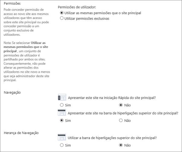 Parte inferior da caixa de diálogo Criar Site
