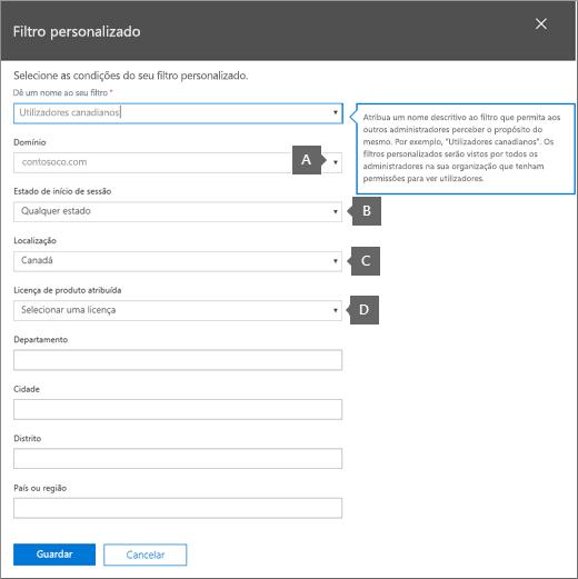 Condições de filtro personalizado