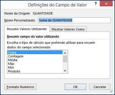 Caixa de diálogo Definições do Campo Valor do Excel para as opções Resumir Valores Por
