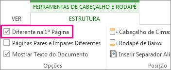 078acf1845 Imagem que mostra a caixa de verificação Diferente na 1.ª Página nas Opções