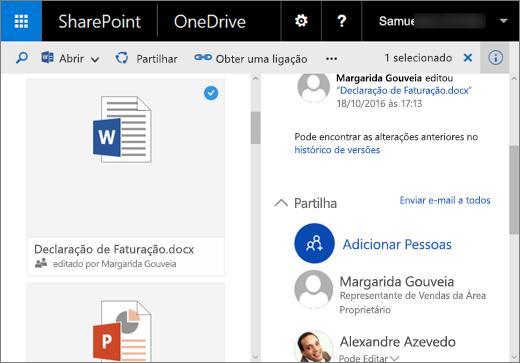 Captura de ecrã a mostrar o painel Detalhes do OneDrive para Empresas no SharePoint Server 2016 com o Pacote de Funcionalidades 1