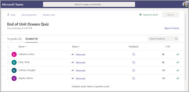 Atribuição aberta, selecione separador classificado para rever o trabalho de estudante classificado.