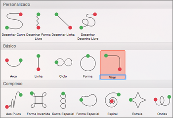 Aplicar uma animação de caminho no separador Animações