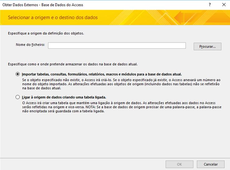 Captura de ecrã do assistente de importação Obter Dados Externos – Base de Dados do Access