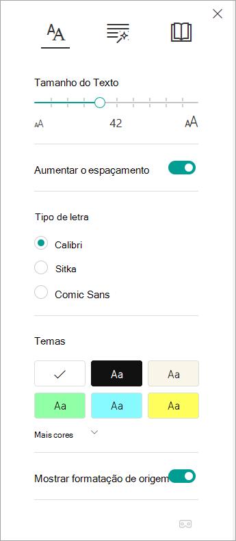 Opções de texto em Leitor Imersivo.