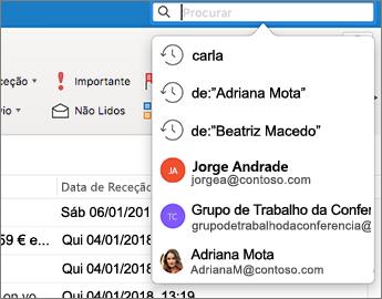 Lista de mensagens em segundo plano e a caixa de diálogo Procurar em primeiro plano