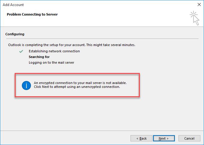 Erro de ligação encriptada no Outlook