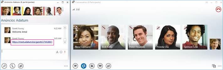 Captura de ecrã da chamada de conferência da sala de chat