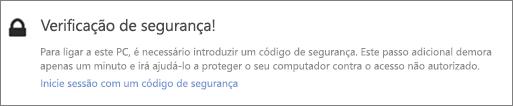 IU de notificação de exemplo com o código de verificação para um pedido de obtenção do OneDrive