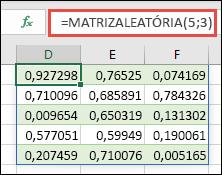 Função MATRIZALEATÓRIA com uma matriz de 5 x 3: =MATRIZALEATÓRIA(5,3)