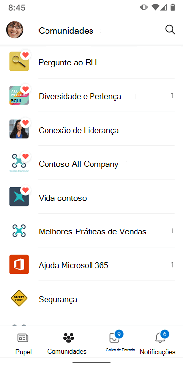 Screenshot mostrando comunidades na aplicação Yammer Android