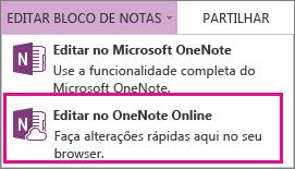 Editar o Bloco de Notas no OneNote Online