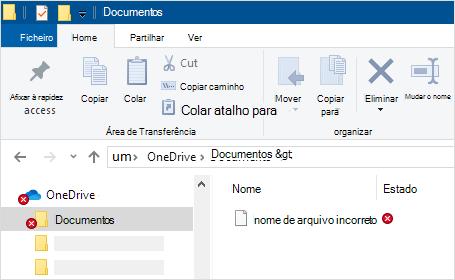 Explorador de ficheiros mostrando erro de sincronização oneDrive