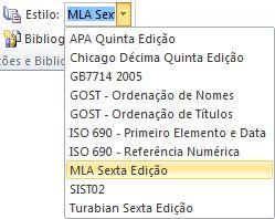 No grupo Citações e Bibliografia, clique na seta junto a Estilo.