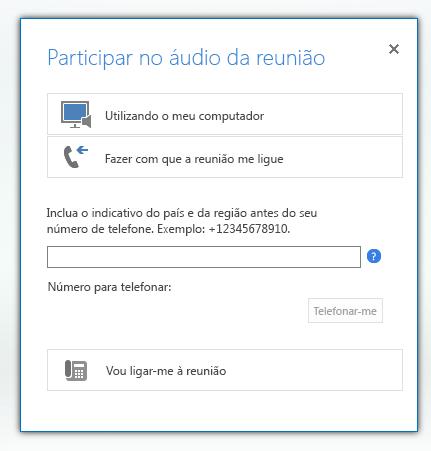 captura de ecrã da caixa de diálogo participar no áudio da reunião com a opção fazer com que a reunião me ligue selecionada