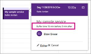 Intervalo de tempo está incluído no lembrete de compromisso do cliente