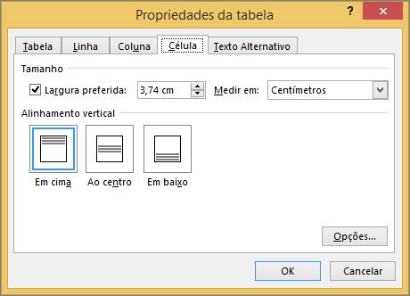 Separador de célula na caixa de diálogo Propriedades da tabela