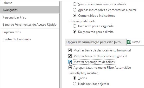 Mostrar separadores da folha de cálculo nas opções do Excel