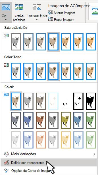 Menu de cores com a definição de transparência selecionada.