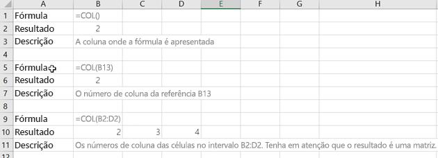 Exemplos da função COLUNA